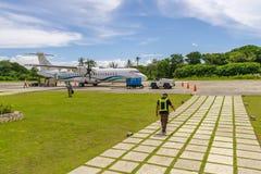 10月6,2017工程师准备对离开在E L 托尔德西里亚斯空气 库存图片