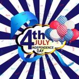 7月4日与美国元素的背景在蓝色背景 库存例证