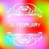 2月14日与装饰小插图的贺卡在五颜六色的梯度背景 库存图片