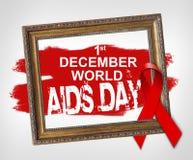 12月1日世界艾滋病日,世界援助与红色丝带的天概念 免版税库存照片