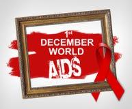 12月1日世界艾滋病,世界援助与红色丝带的天概念 免版税库存图片