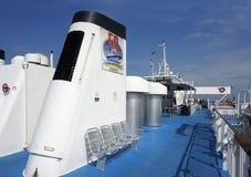 2015年10月7日刘易斯特拉华:海角Henlopen载汽车轮船的上甲板,它横渡特拉华湾 库存照片