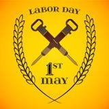 5月1日劳动节 横渡的手提凿岩机 库存图片