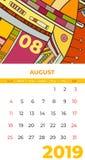 8月2019日历摘要当代艺术传染媒介 书桌,屏幕,桌面月08日2019年,五颜六色的2019本日历模板 库存例证