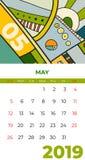 5月2019日历摘要当代艺术传染媒介 书桌,屏幕,桌面月05,2019,五颜六色的2019本日历模板,议程 库存例证