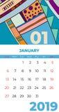 1月2019日历摘要当代艺术传染媒介 书桌,屏幕,桌面月01,2019,五颜六色的2019本日历模板 库存例证
