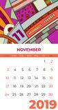 11月2019日历摘要当代艺术传染媒介 书桌,屏幕,桌面月11,2019,五颜六色的2019本日历模板 库存例证