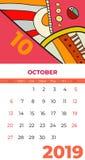 10月2019日历摘要当代艺术传染媒介 书桌,屏幕,桌面月10,2019,五颜六色的2019本日历模板 向量例证