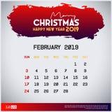 2月2019日历模板 圣诞快乐和新年快乐红色倒栽跳水背景 皇族释放例证