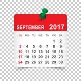 9月2017日历 免版税库存照片