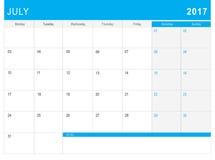 7月2017日历& x28; 或者书桌planner& x29;笔记 免版税库存照片