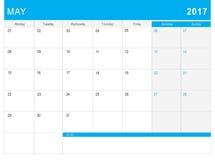 5月2017日历& x28; 或者书桌planner& x29;笔记 库存照片