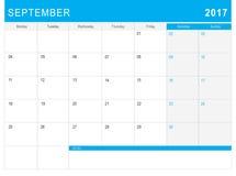 9月2017日历& x28; 或者书桌planner& x29;笔记 免版税库存图片