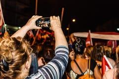 8月30日土耳其胜利天游行在晚上 免版税图库摄影