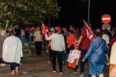 8月30日土耳其胜利天游行在晚上 免版税库存图片