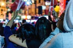 8月30日土耳其胜利天游行在晚上 图库摄影