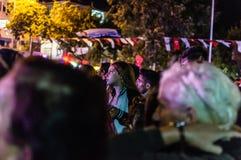 8月30日土耳其胜利天游行在晚上 库存照片