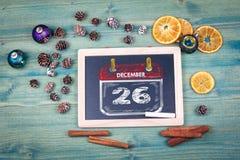 12月26日圣诞节 粉笔板背景 库存照片