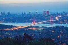 7月15日在伊斯坦布尔迫害桥梁, Bosphorus桥梁, 图库摄影