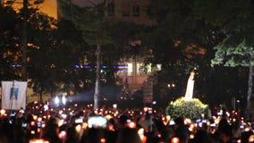 2015年5月13日在圣所法蒂玛-葡萄牙的宗教庆祝 股票录像