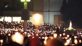 2015年5月13日在圣所法蒂玛-葡萄牙的宗教庆祝 股票视频