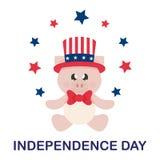 7月4日在坐与星adn文本的帽子的动画片逗人喜爱的猪 免版税库存照片