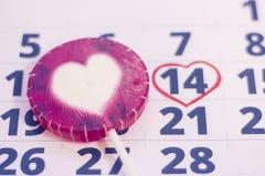 2月14日在日历的 图库摄影