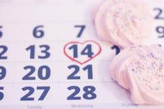2月14日在日历的 免版税库存图片