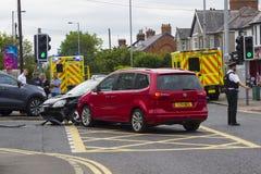 7月12日在Ballyholme的2018多车公路交通事故曼格coun的 库存照片