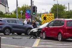 7月12日在Ballyholme的2018多车公路交通事故曼格coun的 免版税库存图片