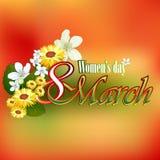 3月8日妇女的与经验丰富的着色的天背景在背景 免版税库存图片