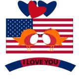 2月14日情人节国旗 向量例证