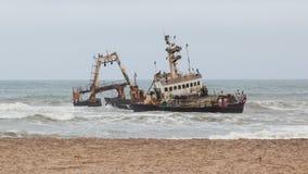 2008年8月25日搁浅的塞拉海难在纳米比亚 库存图片