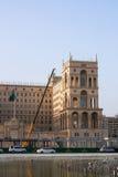 2017年3月15日方形的自由,巴库,阿塞拜疆 终端的建筑惯例1的竞争的在Governme的 免版税库存图片