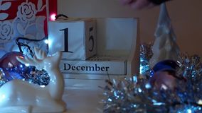 12月11日日期阻拦出现日历 影视素材