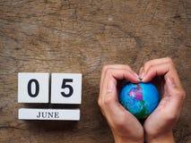 6月05日木日历块、地球和手在木纹理 免版税库存图片