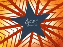 7月4日独立日词在红色星难看的东西背景的手文字 免版税库存图片