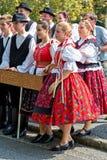 2016年9月11日的传统匈牙利收获游行在vi 库存照片