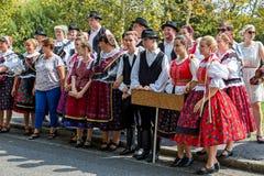 2016年9月11日的传统匈牙利收获游行在vi 库存图片