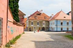 2014年7月15日的委员会正方形在布拉索夫,罗马尼亚 图库摄影