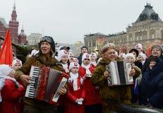11月7日的庆祝在红场在莫斯科 图库摄影