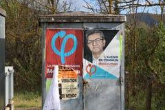 2017年4月23日的法国总统选举的选举海报 免版税库存照片