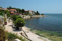 2015年7月17日的海边在Nessebar老镇,保加利亚 免版税库存图片