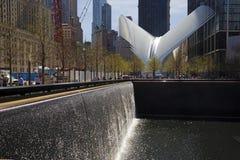 9月11日纪念品北部水池和Oculus在背景中 免版税库存图片