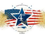 7月4日美国独立日卡片 免版税库存照片
