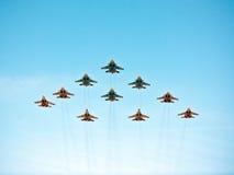 5月9日胜利游行飞行表演,莫斯科,俄罗斯 免版税库存照片
