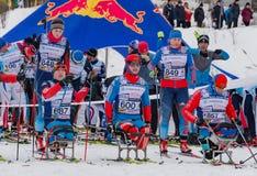 2017年2月11日艺术Veretevo庄园每年滑雪竞赛Nikolov Perevoz 2017年Russialoppet滑雪马拉松 残奥种族 免版税库存照片