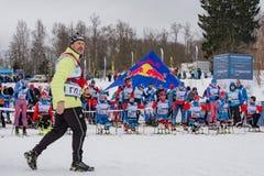 2017年2月11日艺术Veretevo庄园每年滑雪竞赛Nikolov Perevoz 2017年Russialoppet滑雪马拉松 残奥种族 库存图片