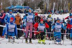2017年2月11日艺术Veretevo庄园每年滑雪竞赛Nikolov Perevoz 2017年Russialoppet滑雪马拉松 残奥种族 库存照片