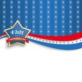 7月4日金黄星蓝色条纹 免版税库存照片